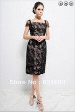 percuma penghantaran 2014 wanita pakaian elegan plus saiz vestidos formales cap lengan pendek renda hitam ibu dari pakaian pengantin