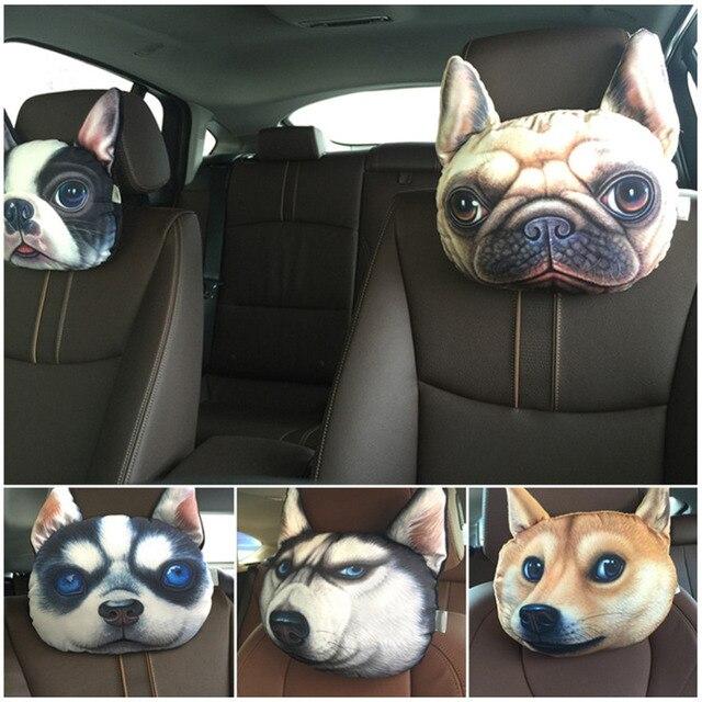 Newest 2016 3D Printed Dog face Car Headrest Neck Rest Auto Neck Safety Cushion/ Car Neck Support Headrest Hot Sale