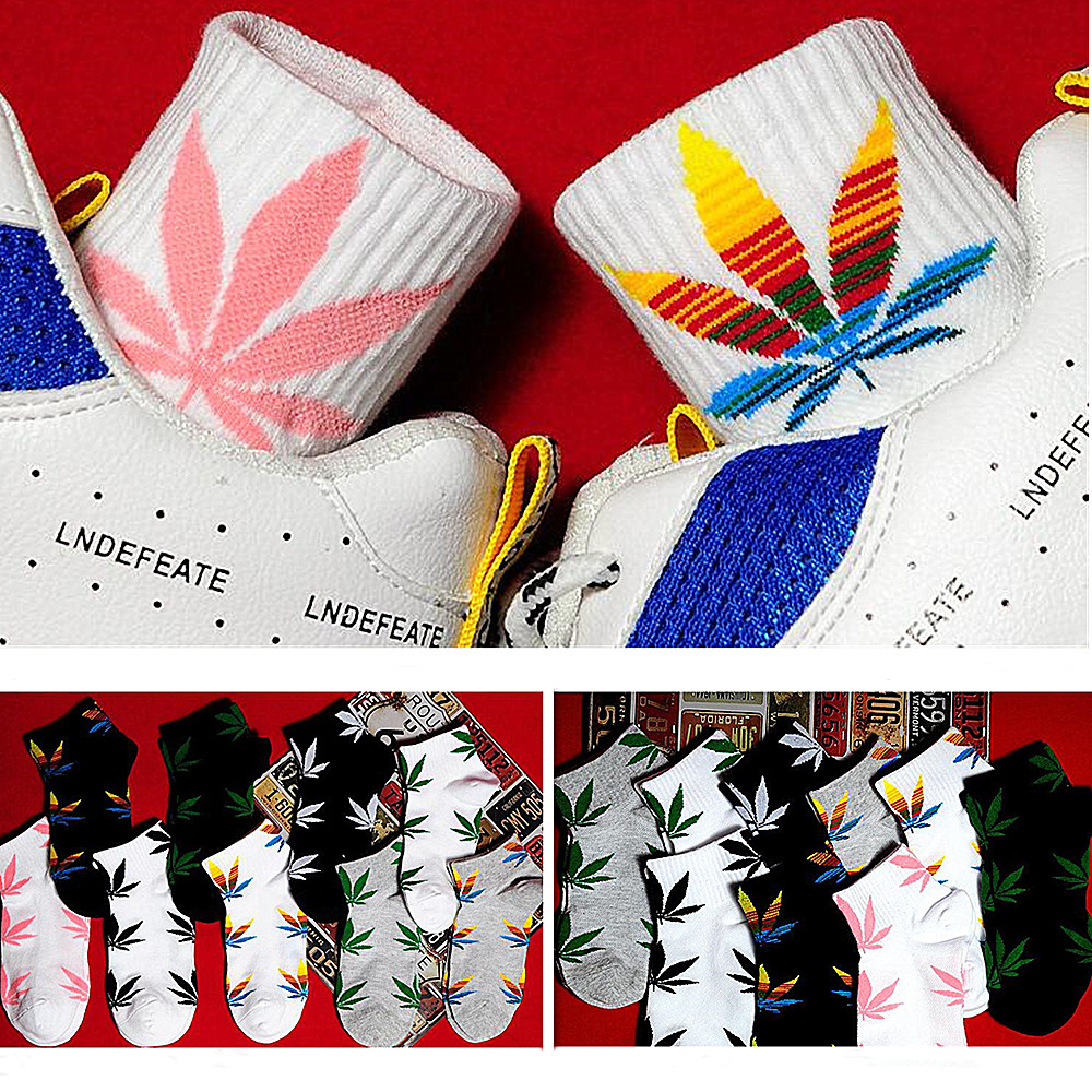 Unisex Fashion Weed Hemp Socks Street Fashion Hip Hop Skateboard Couple Harajuku Trend Ankle Socks Send Men Gift 2019