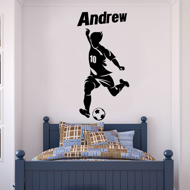 Customizable personalized name football player icon vinyl wall decals boy teen room home decor wallpaper DZ25