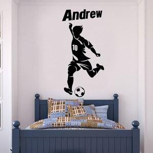 Image 1 - Özelleştirilebilir kişiselleştirilmiş adı futbol oyuncu simgesi vinil duvar çıkartmaları çocuk genç odası ev dekor duvar kağıdı DZ25