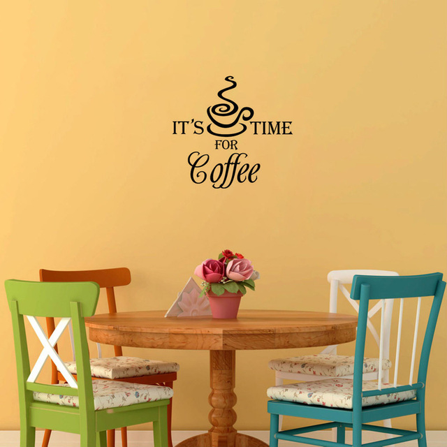 CaCar It\'S Coffee Time For Coffee Mural Wall Paper Vinyl Art DIY ...