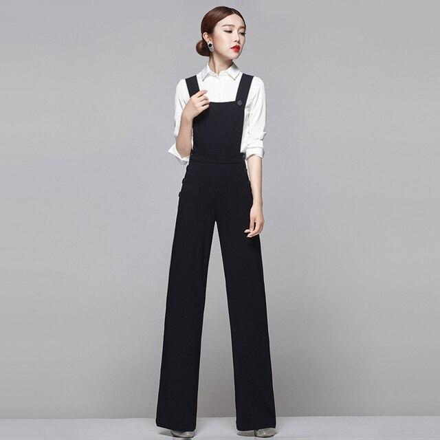 39066364e5af Earoomze Chic Tute delle Donne Pantaloni Moda Donna Sottile Salopette  Pantaloni Neri Pantaloni Gamba Larga Lady