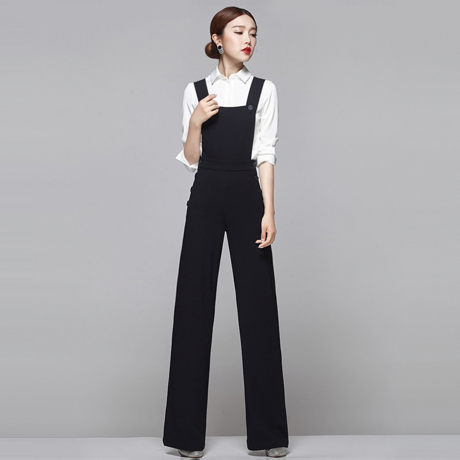 Earoomze Chic Womenu0026#39;s Coveralls Pants Fashion Woman Slim Bib Overalls Black Wide Leg Pants Lady ...