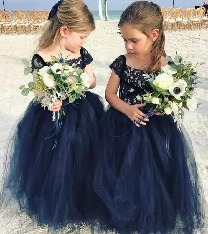 one piece navy blue arabic flower girl dresses for garden wedding and party sheer lace puffy tulle tutu formal occasion dress adjustable shoulder straps handmade crochet dress navy blue and royal blue girl tutu dress