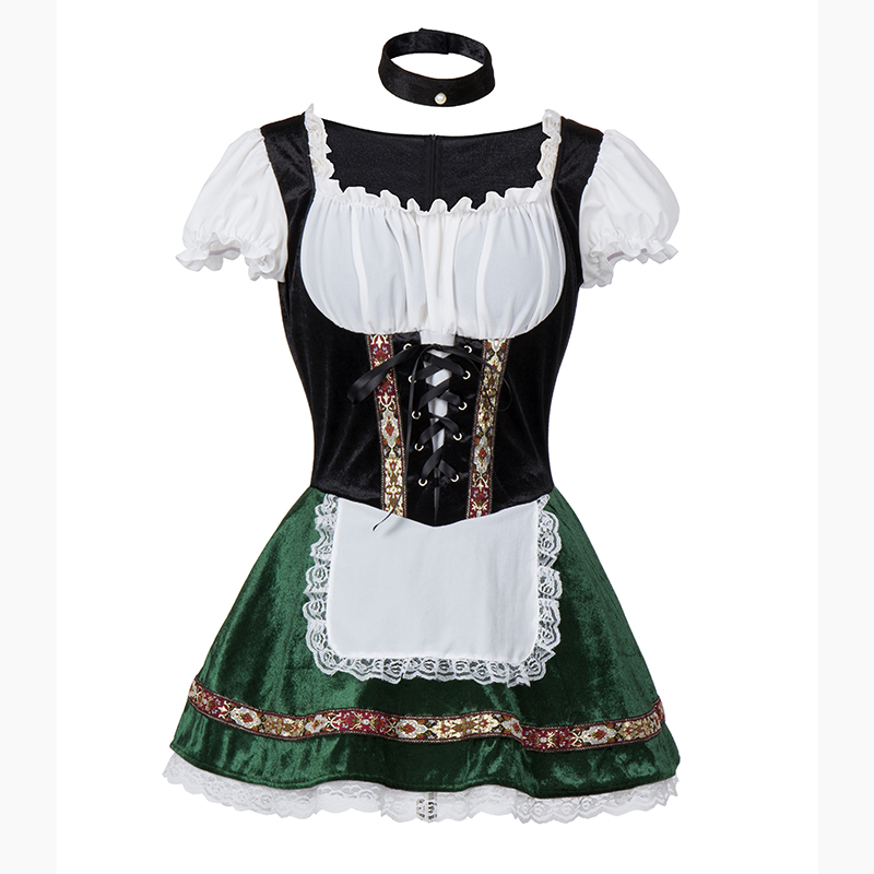 Image 4 - White Green Oktoberfest German Maid Fancy Dress Cosplay Beer Girl Costume Sexy Halloween Costumes For Women Deguisement Adultes-in Sexy Costumes from Novelty & Special Use