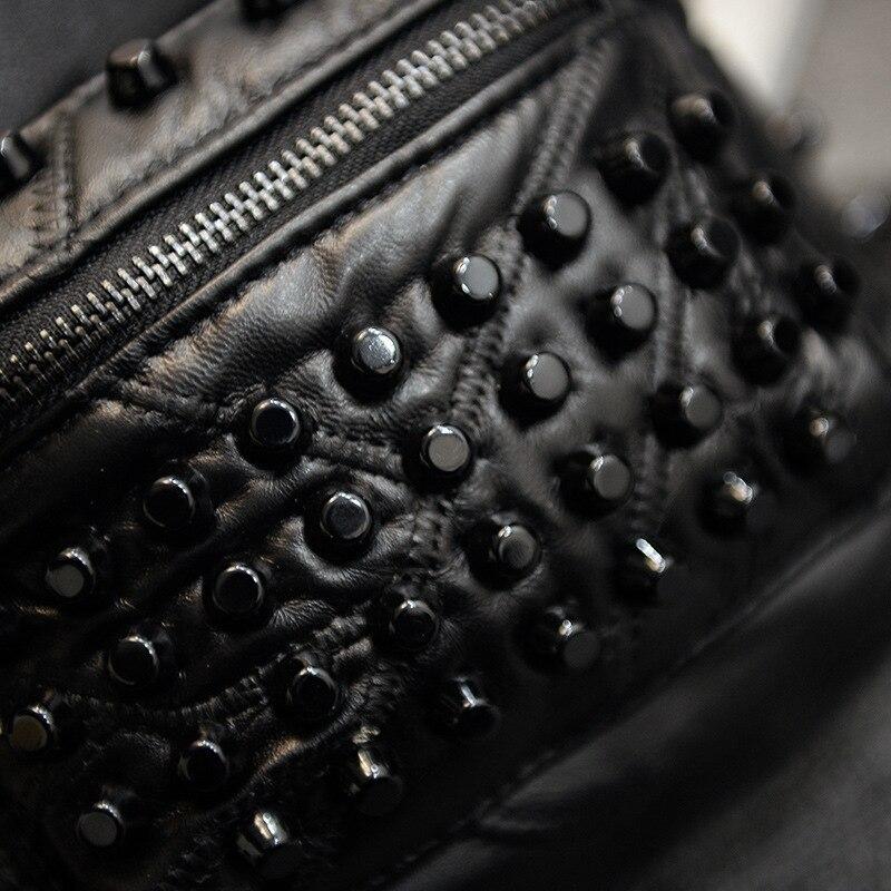 Rivet Women PU Lether backpack Shoulder Teenage Girl schoolbag Fashion Hip-hop street Small Knapsack Zipper softback travel bag