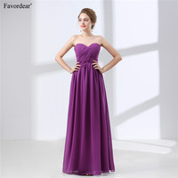 Favordear 2018 New Simple All Colors Sweetheart Pleat Lace Up Back Sleeveless Chiffon Bridesmaid Dresses