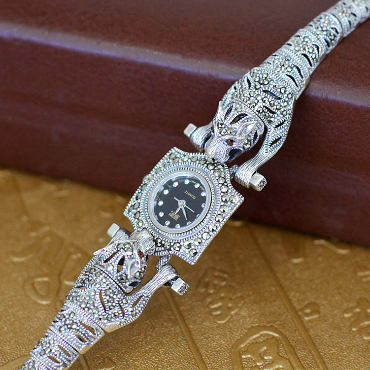 silver product S925 pure silver ornaments Thai silver leopard straight for ms bracelet watches the manufacturer character silver product s925 pure silver new mark antique watch authentic thai contracted female model