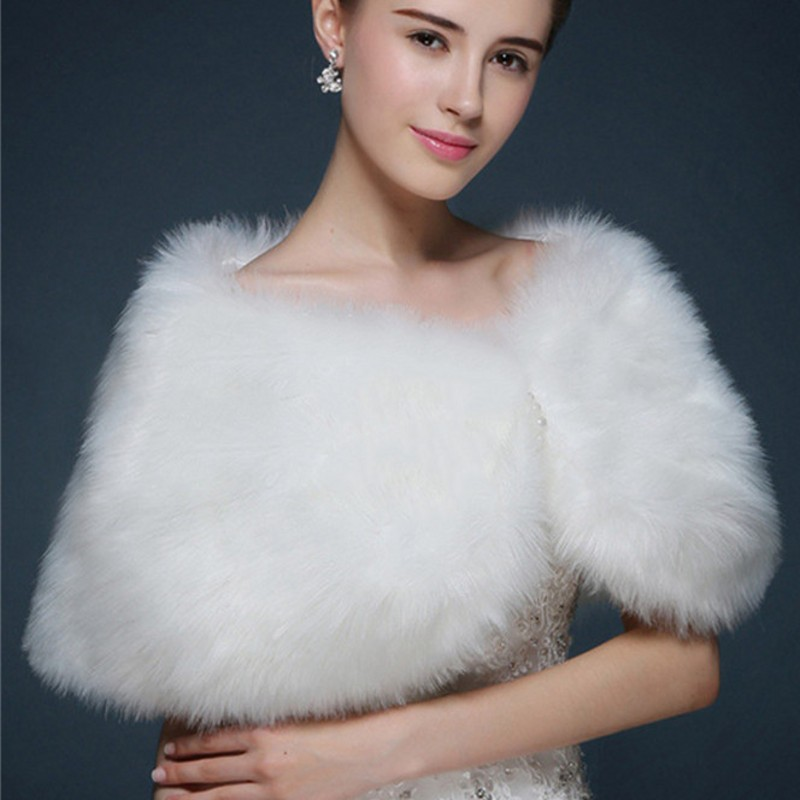 Купить с кэшбэком New White Faux Fur Women Wedding Bridal Bolero Wrap Shawl Cape Stole Coat Jacket Wedding Accessories