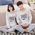 Stripe pijama para Homem e mulher de manga longa 100% Pijama de Algodão conjuntos Sleepwear Terno 2 peça Sexy Primavera Casa de Presente Salão XXL