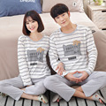 stripe pajama for Man and woman long sleeve 100% Cotton Pajama sets Sleepwear Suit 2 piece Sexy Spring Home Lounge Gift XXL