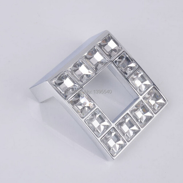 New 10pcs 32mm Square Crystal Cabinet Drawer Handle Kitchen Gl Closet Pull Shoesbox Handles