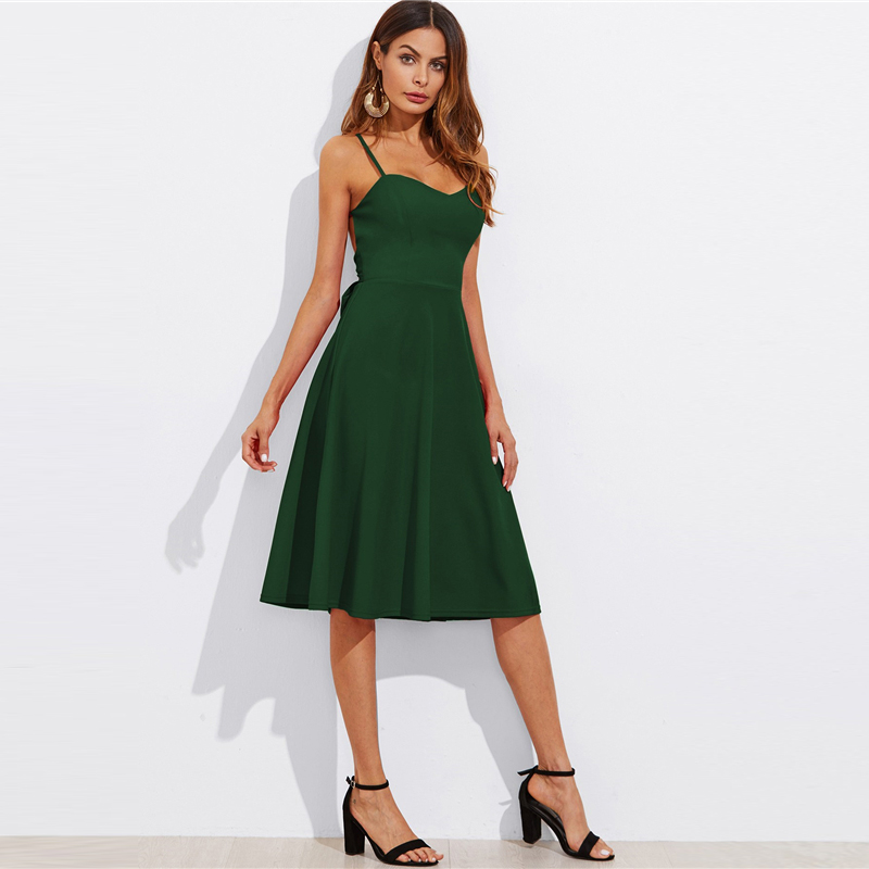 COLROVIE Crisscross Belted Back Cut Out Fitted & Flared Dress Red Spaghetti Strap Sleeveless Sexy A Line Party Dress Green 16