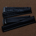 Hot sale new High Quality Black Leather Watchband folding Buckle delpoyment Watches Accessories 22mm 24mm
