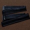 Venta caliente de la nueva Alta Calidad de Cuero Negro Hebilla desplegable Correa delpoyment Relojes Accesorios 22mm 24mm
