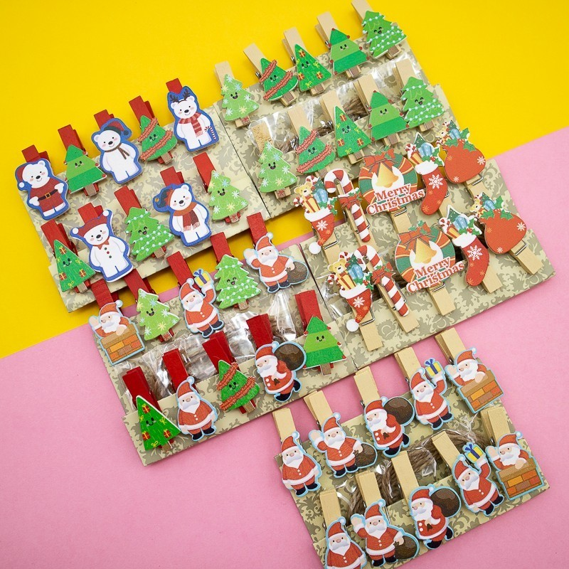 Christmas Series Wooden Rope Clip Series Folder Office Stationery And School Supplies 10PCS/Bag