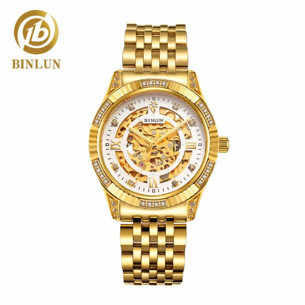 BINLUN montre mécanique homme squelette or luxe diamant résistant aux rayures entreprise automatique hommes or montre-bracelet d'affaires