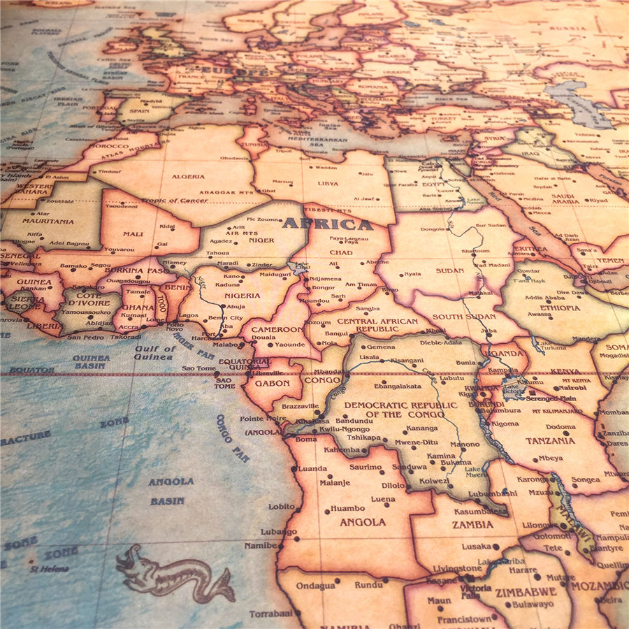 Vintaj Dünya xəritəsi Divar stikeri Retro afişa Qonaq otağı - Ev dekoru - Fotoqrafiya 5
