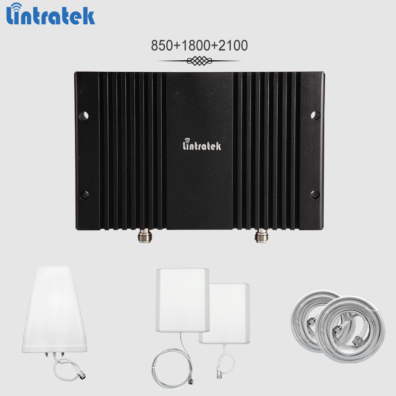 Lintratek Signal Booster 850 1800 2100Mhz Band5 Band3 Band1 Repeater GSM 3G 4G LTE 65dBi AGC&MGC Mobile Amplifier Full Kit#8.4