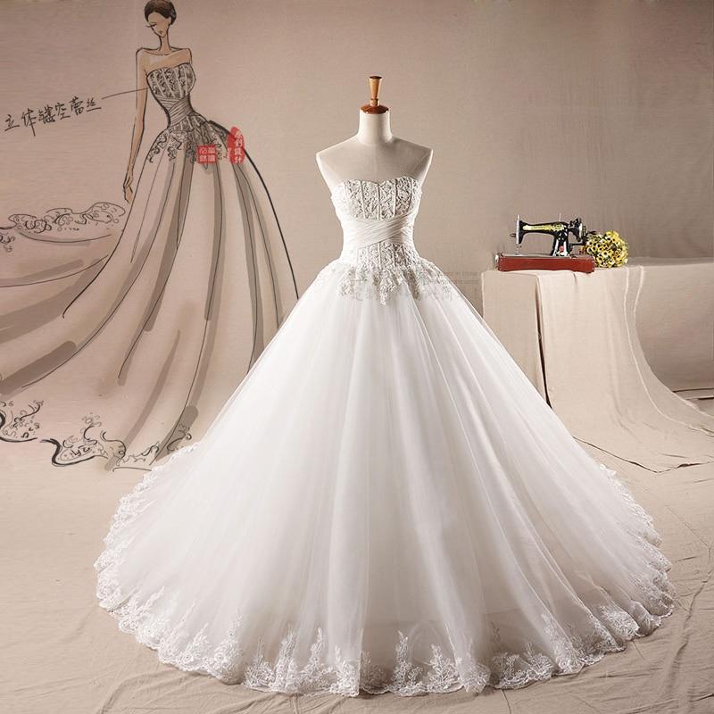 2015 Spring Wedding Dress Korean Luxury Diamond Bra Type Super Deluxe 2 Meters Long Tail Custom Made In Dresses From Weddings Events