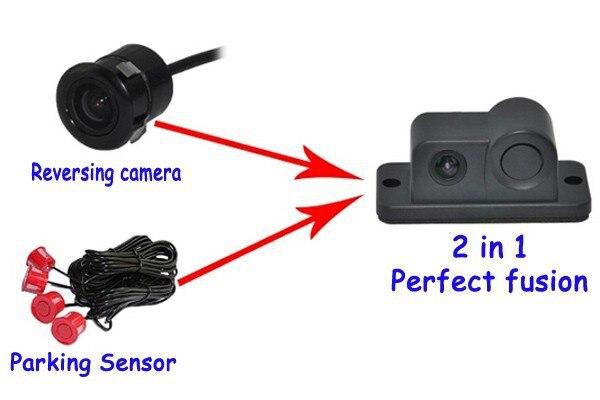 Alarme sonore nouveau 2 en 1 LED alarme sonore voiture sauvegarde inverse vidéo capteur de stationnement système Radar avec caméra de stationnement CCD vue arrière