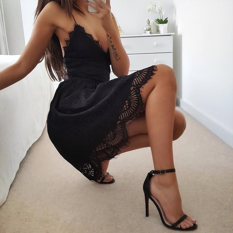 2017 Fashion Camisole Deep V Sexy Backless Bandage Lace Summer Women Short Bodycon Dress Party Dresses Embroidery Clothing