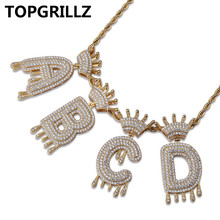 Custom A-Z Initial Bubble Letter Name Crown Drip Letters Pendant  Necklaces Men Women Gold Silver Color CZ Hip Hop Jewelry Gifts