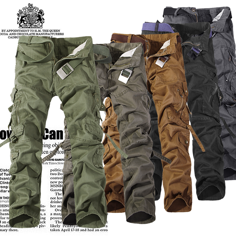 2017 New Men Cargo Pants army green grey black big pockets decoration Casual easy wash male