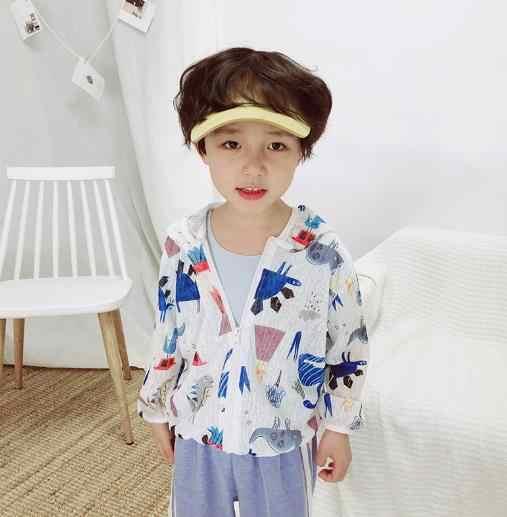 Anak Korea Jaket Matahari Perlindungan Pakaian Musim Panas Pantai Kulit Bayi Pakaian Ringan dan Bernapas Anak Laki-laki Anak Perempuan Cardigan Mantel