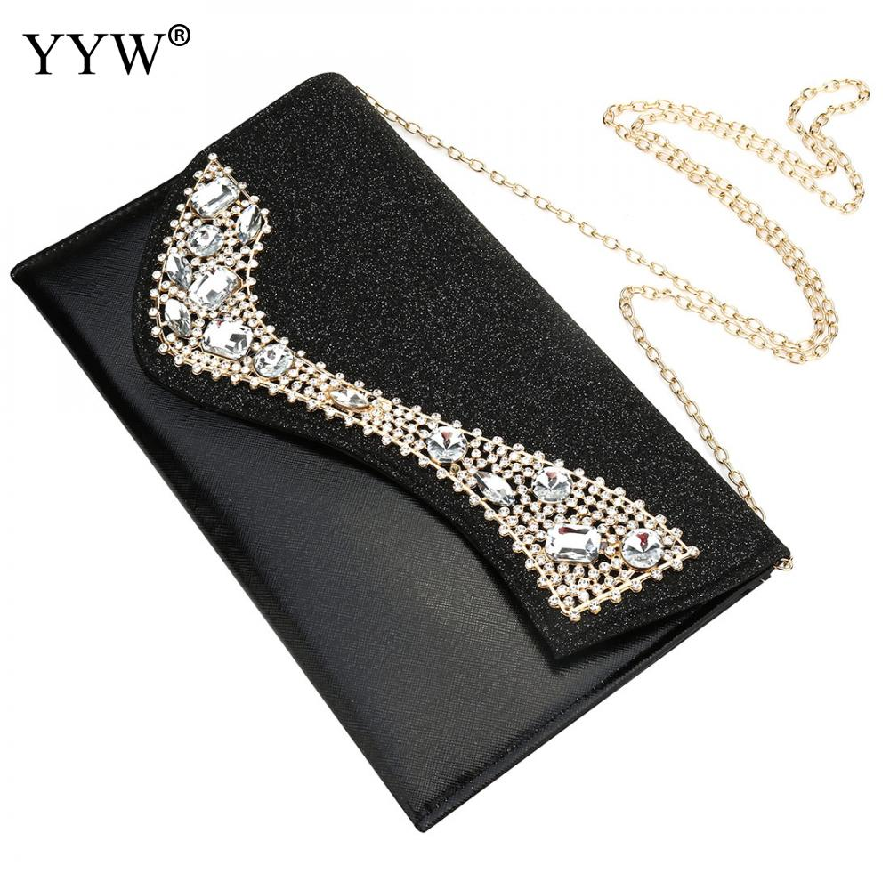 YYW Luxury Rhinestone Envelope Clutch Female 2019 Luxury Handbags Women Bags Designer Clutch Female Party Evening Handbag Purse(China)