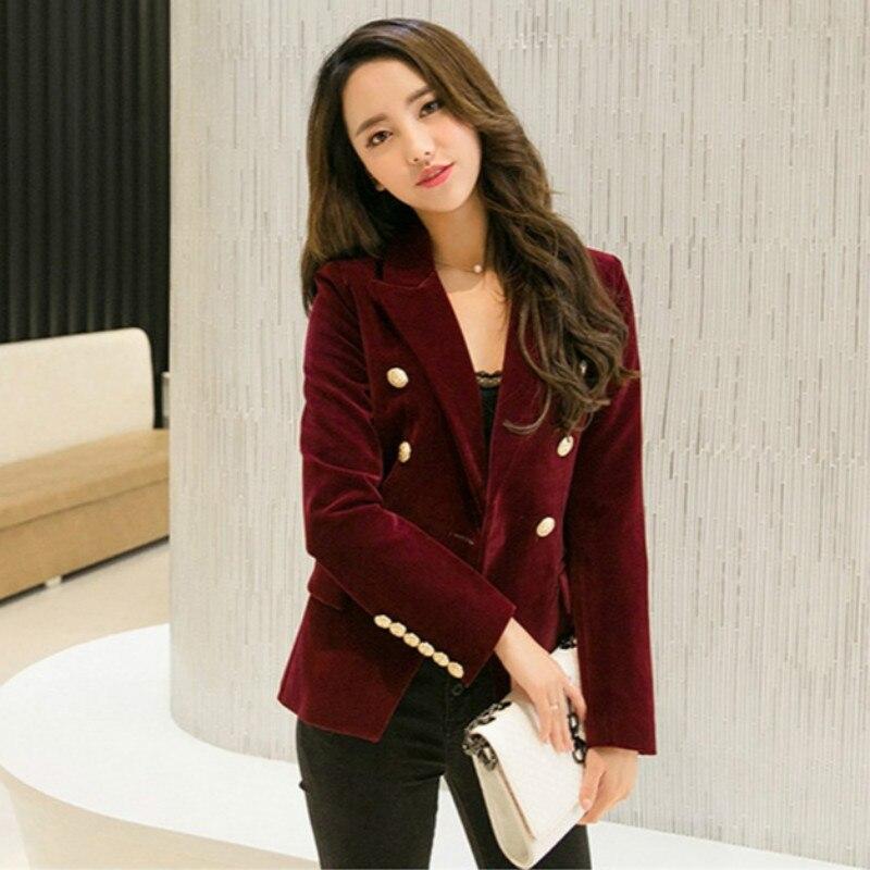 Brand New Fashion Spring Autumn Women Black Slim Velvet Blazer Jacket Wine Red Double Breasted Simple Lady Blazers OL Clothing