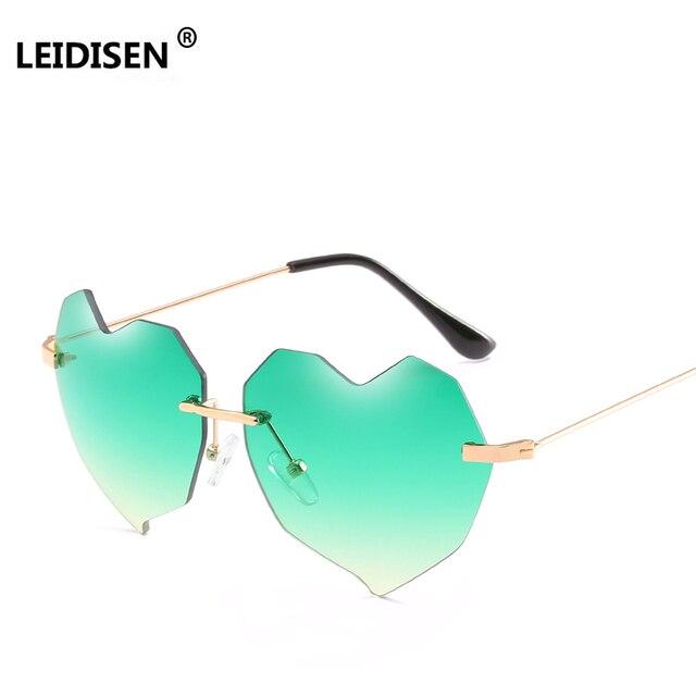 5add9524c4 Love Heart Shape Sunglasses Women 2018 Rimless Frame Tint Clear Lens  Colorful Sun Glasses Green Pink