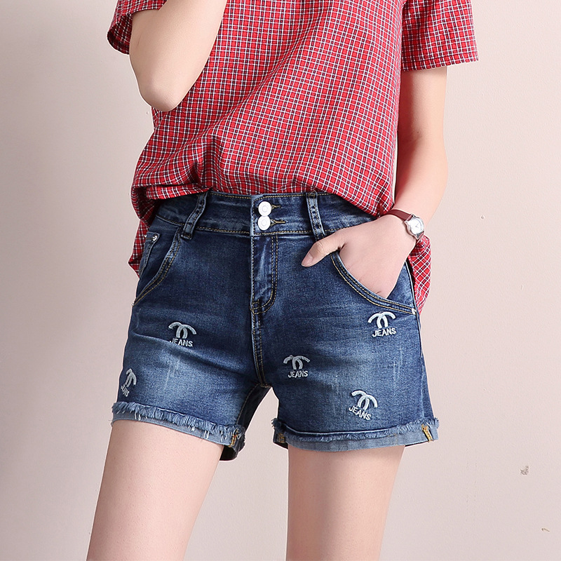 2018 Spring Summer Women Shorts Blue Embroidery Women's Denim Shorts Female High Waist Vintage Shorts Casual Short Jeans Woman