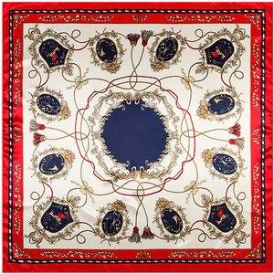 Женский шарф MENGLINXI, шарф из Твила 90 см * 90 см, квадратный шарф с кисточками и принтом, модная повязка на голову