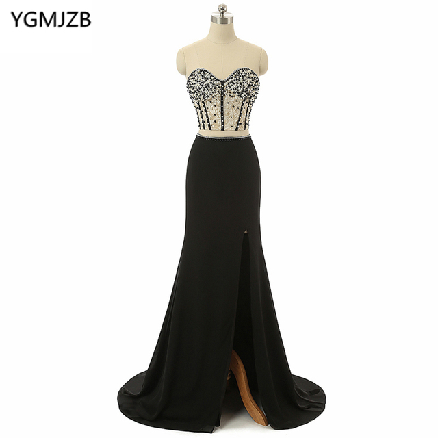 2e9aa9fab1 Long Black Evening Dresses 2018 Mermaid Sweetheart Beaded Appliques Two  Piece Prom Dress Sexy Side Split Chiffon Evening Gown