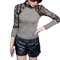 Hollow Out Long Sleeve Fashion Women Crew Neck Slim Knitwear Female Sexy Lace Party Club Wear