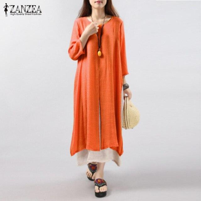 ZANZEA Женщины Dress 2017 Осень Старинные Хлопок Белье Dress Случайные Свободные Длинные Платья Плюс Размер Vestidos Плюс Размер S-5XL