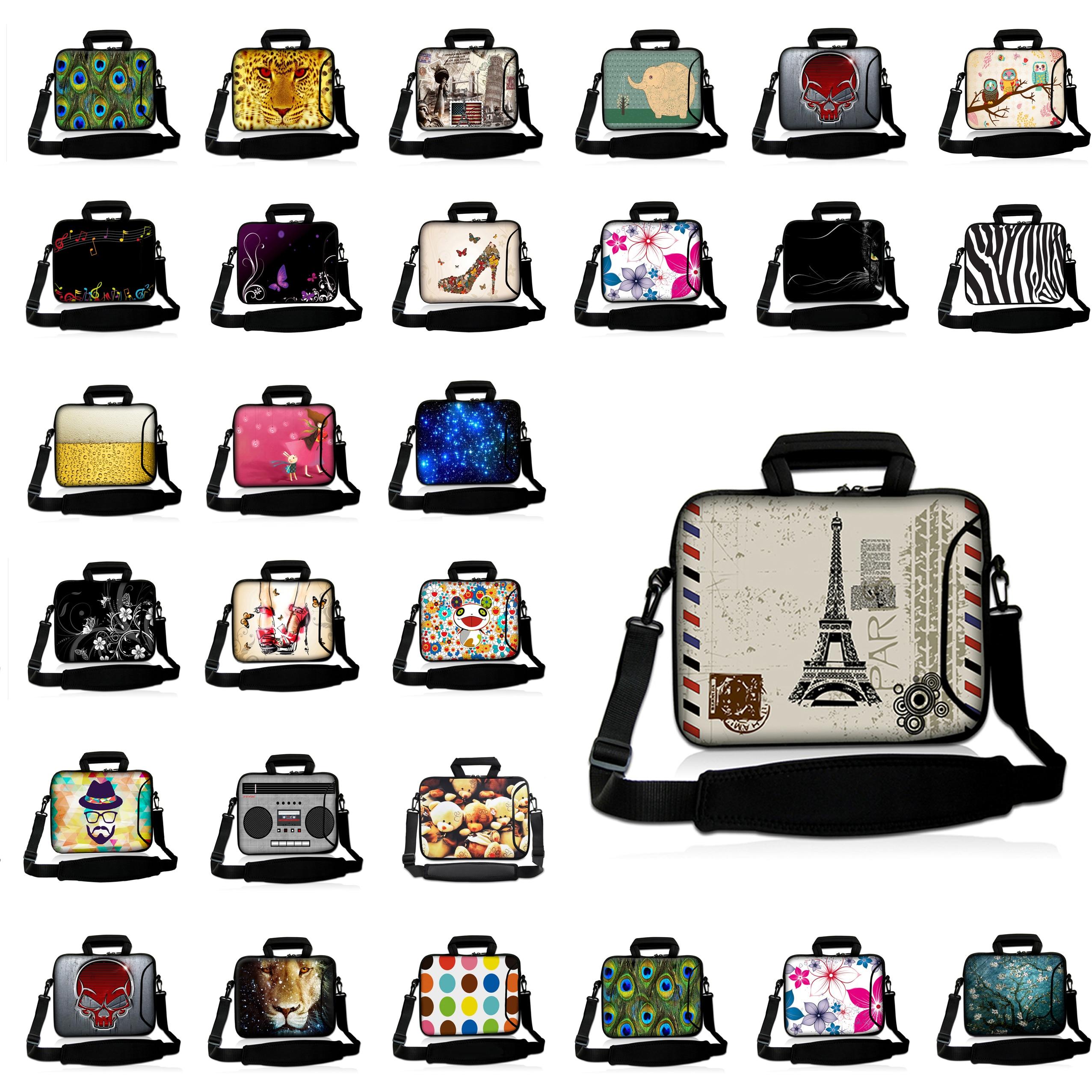 Paris Style 10 12 13 14 15 17 Notebook Messenger Bag Laptop Handle Cases For Macbook Lenovo Acer Asus Dell IBM HP+Shoulder Strap