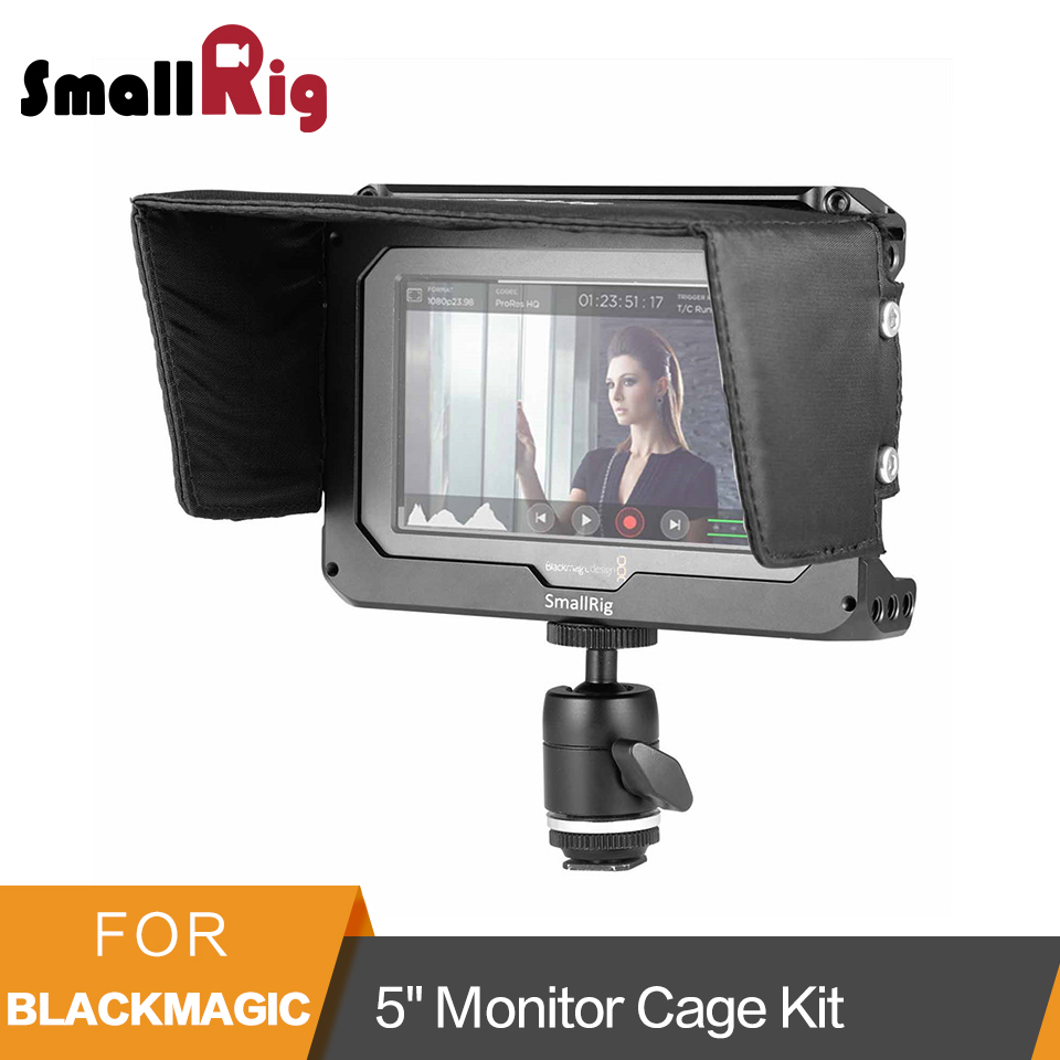 SmallRig Monitor Cage Kit for Blackmagic Design Video Assist 5 Monitor with HDMI Clamp Sunhood Ballhead Cold Shoe 1981