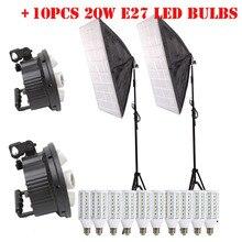 10ชิ้นE27นำหลอดไฟ+ 60เซนติเมตรx 90เซนติเมตร5ผู้ถือโคมไฟ+แสงขาตั้งกล้องยืนสำหรับการถ่ายภาพไฟแฟลชชุดวัสดุสะท้อนแสงสตูดิโอถ่าย