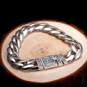 Image 4 - ZABRA Real 925 Silver Mens Bracelet 12mm Wide Smooth Flower Safe Lock High Polish Link Chain Male Biker Silver Bracelet