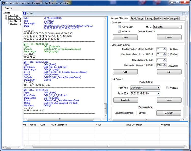 Bluetooth 4 CC2540 USBdongle protocol analyzer PacketSniffer BTool tool GPS