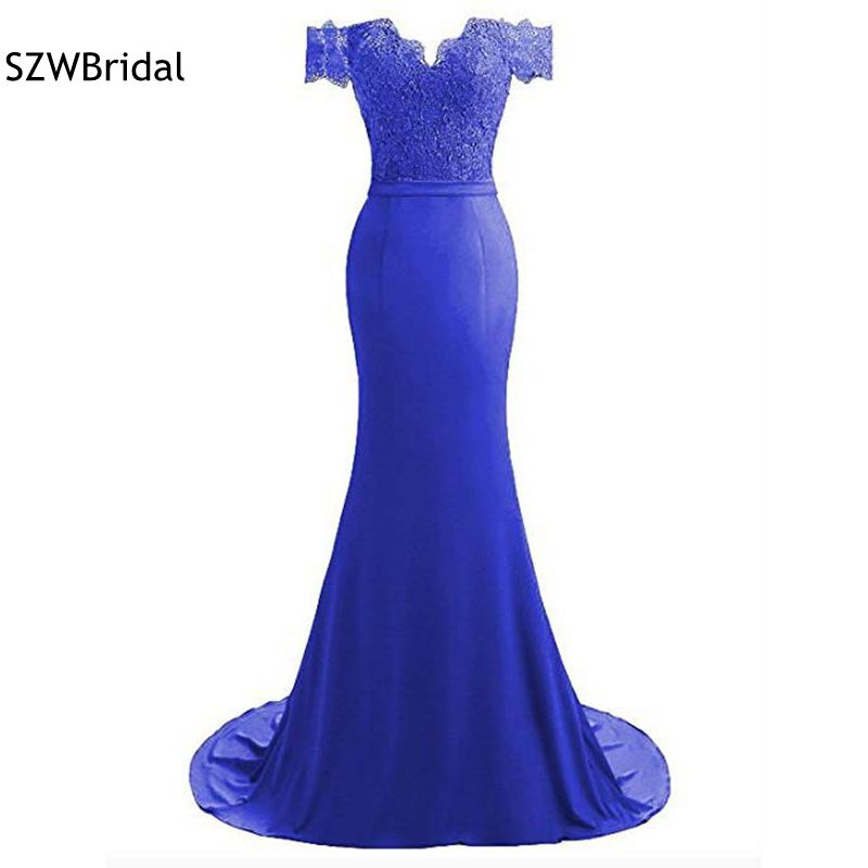 Abendkleider Cheap Mermaid   evening     dresses   2019 Off the shoulder Royal blue   evening   gowns In stock vestido longo