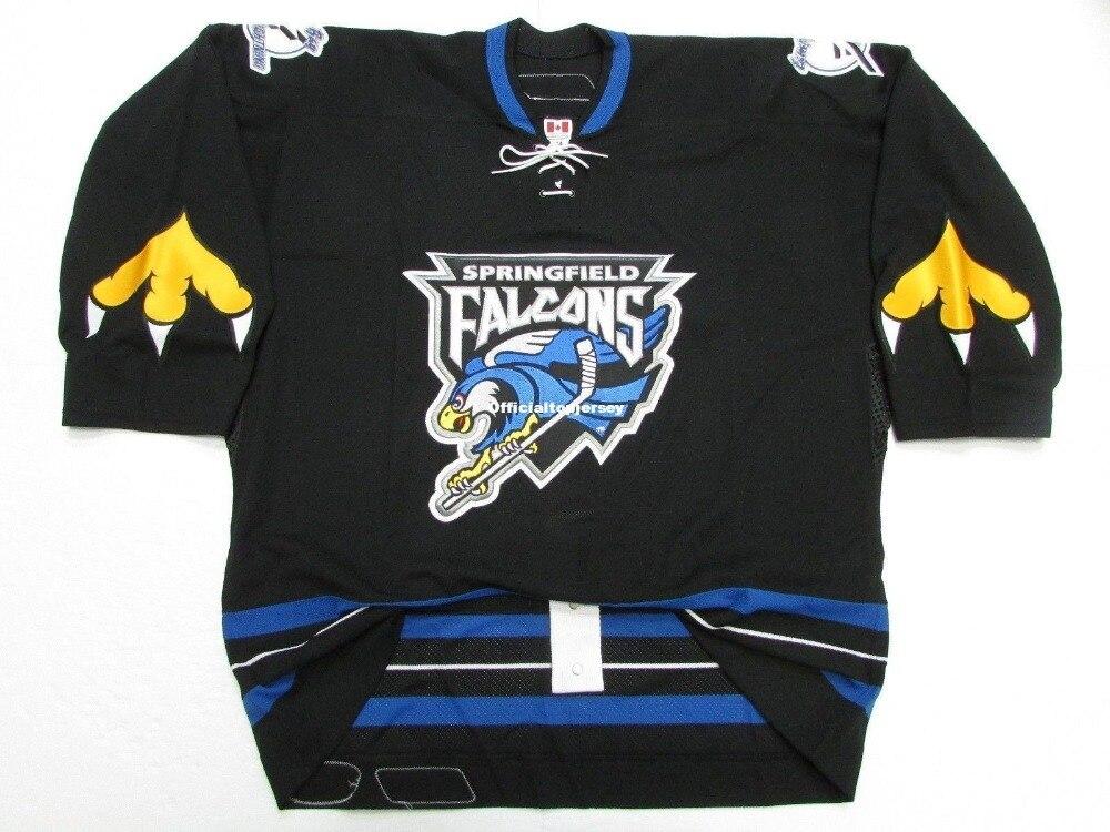 Springfield Premier Falcons Equipe Emitido Preto Personalizado Duplo Costurado Jerseys