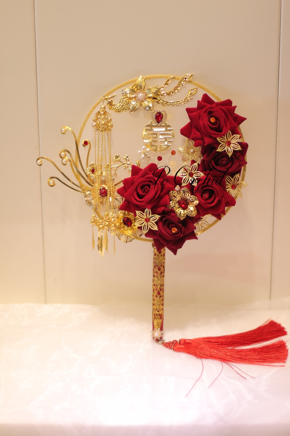 Peorchid Vintage Red Gold Bride Bouquet Chinese Traditional Round