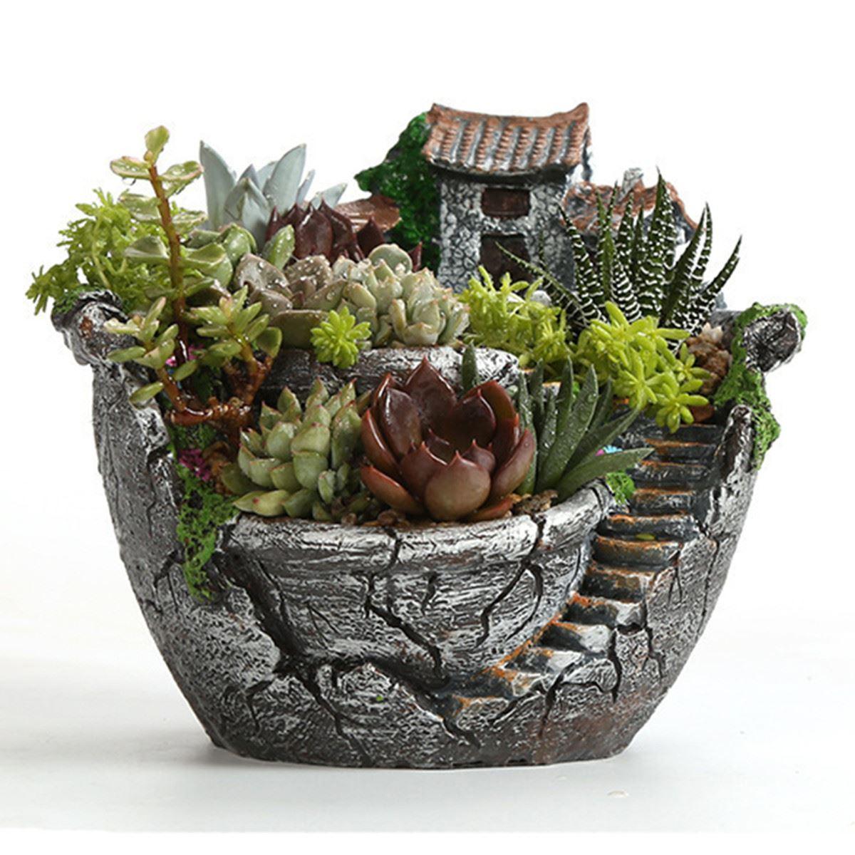 resin garden cactus succulent plant pot herb flower planter box nursery pots home room decor. Black Bedroom Furniture Sets. Home Design Ideas