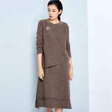 LYNETTE'S CHINOISERIE 2016 Spring Autumn Original Design Women Loose Straight Brief Merino Wool Sweater Dresses