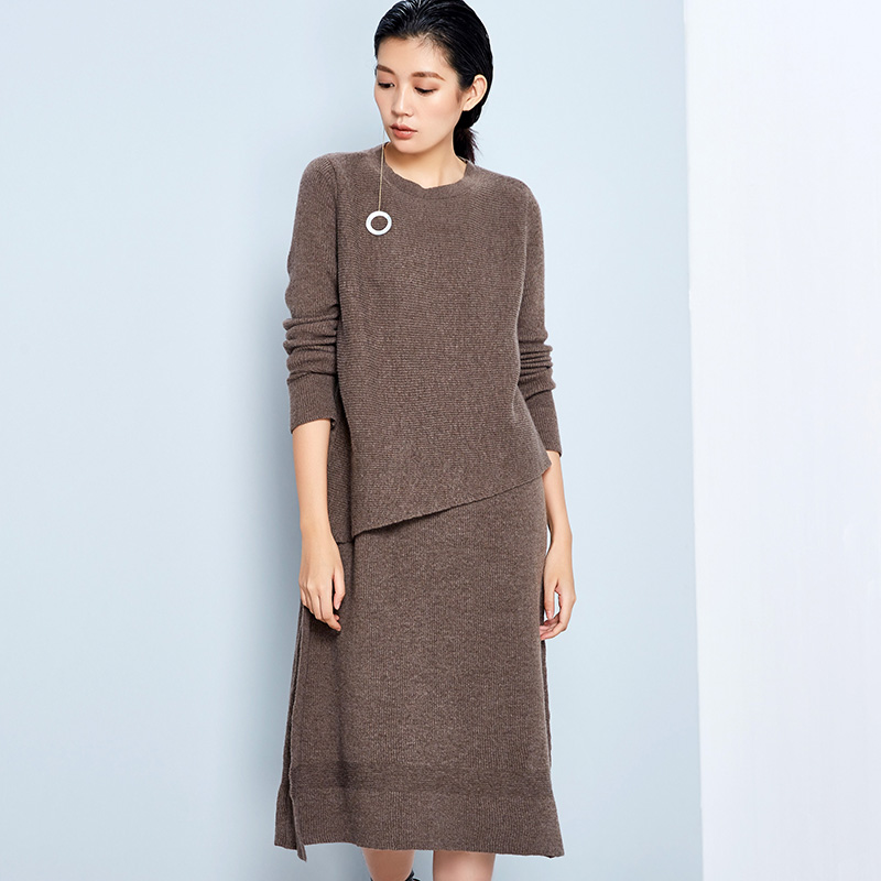 LYNETTES CHINOISERIE 2016 Spring Autumn Original Design Women Loose Straight Brief Merino Wool Sweater Dresses