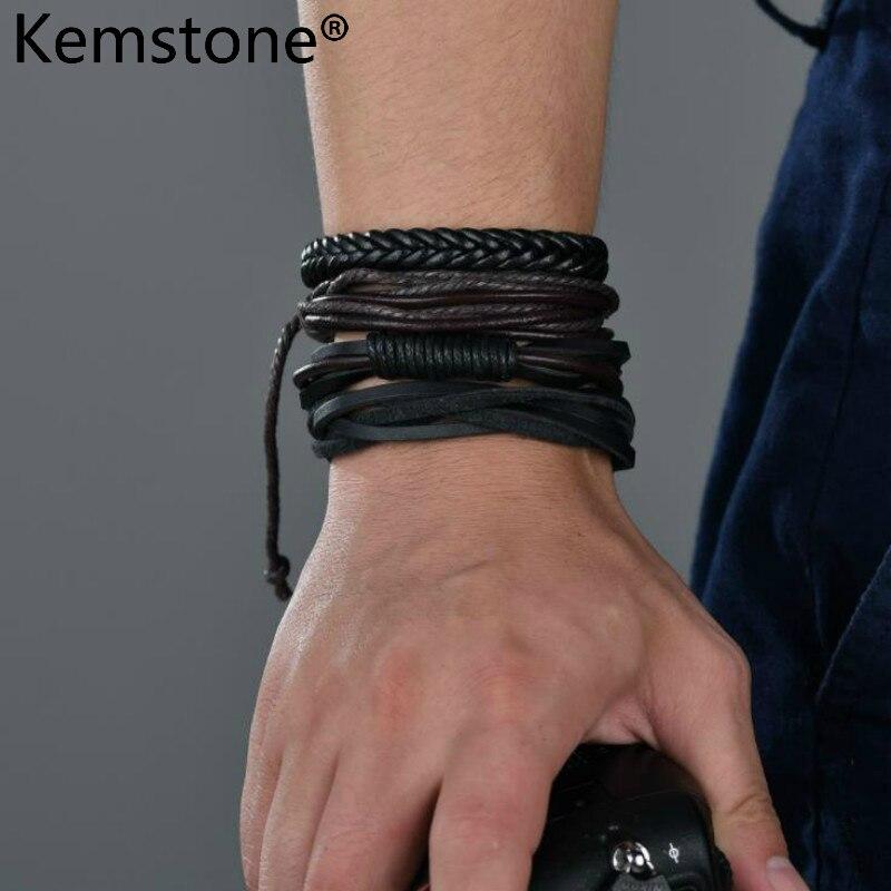 Kemstone Punk cuero negro Multi-capa Wrap pulsera joyería hombres regalo Kalen nuevo único hombre joyería de acero inoxidable amuleto de motocicleta brazalete de rock punk Durable pulseras de cuero barato regalo